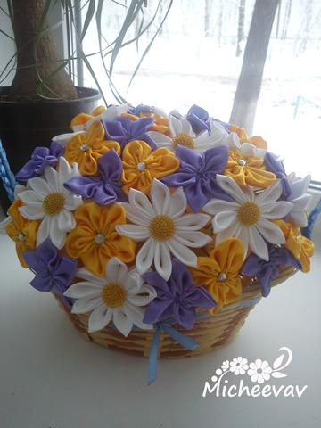 Цветы в корзинке канзаши мастер класс