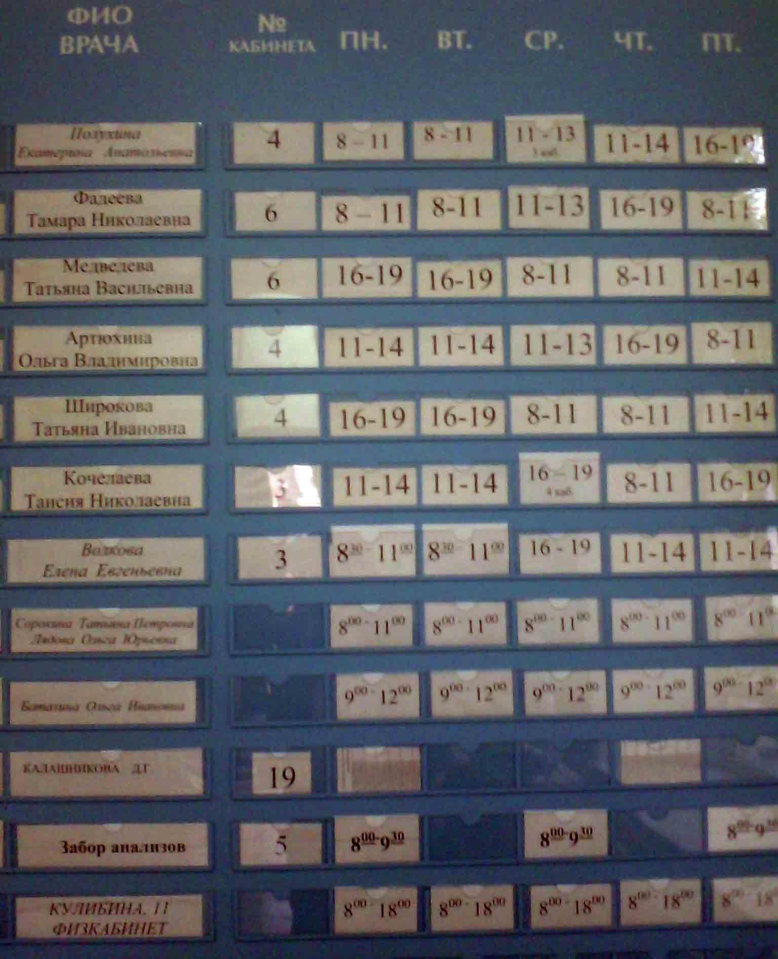 Расписание приема врачей в поликлинике 1 подольск