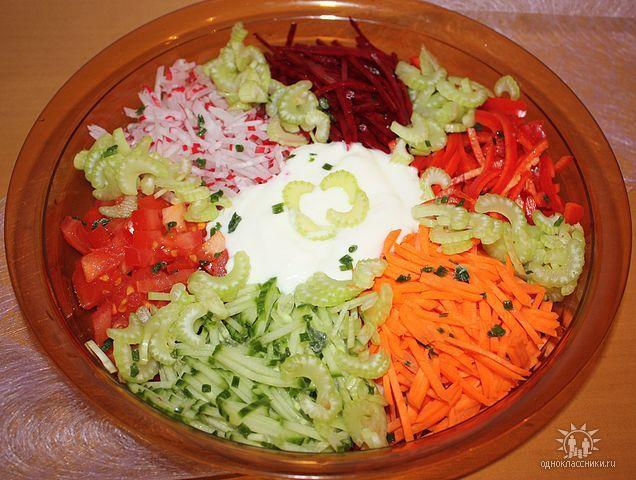 Салат радуга и рецепт